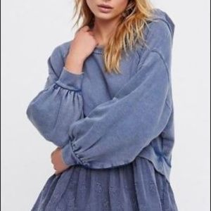 Free People L Sweet Streets Embroidered Hoodie